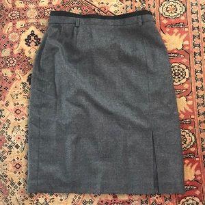 Escada Vintage Gray Wool Pencil Skirt